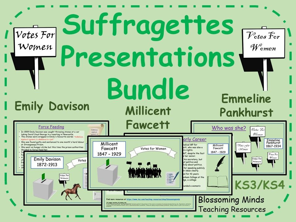 Suffragettes Presentations Bundle - KS3/4 - Emily Davison, Millicent Fawcett, Emmeline Pankhurst