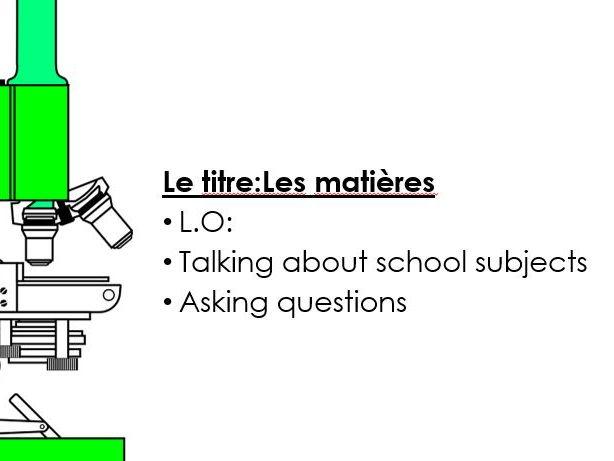 Studio 1  Module 2  Mon collège Unit 1 pp. 28–29 Mes matières