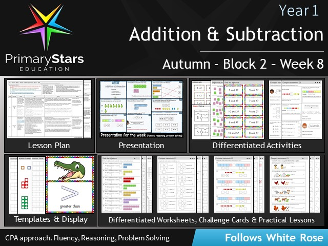 YEAR 1 - Addition Subtraction - White Rose - WEEK 8 - Block 2 - Autumn - Differentiated Resources