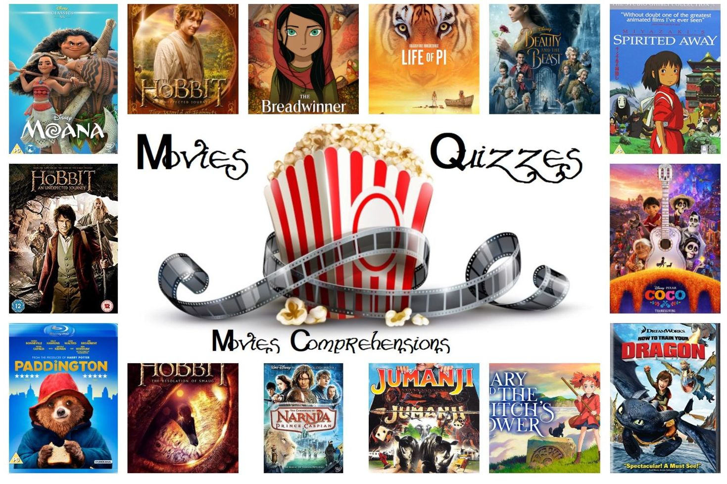 14  Movies comprehensions / quizzes bundle