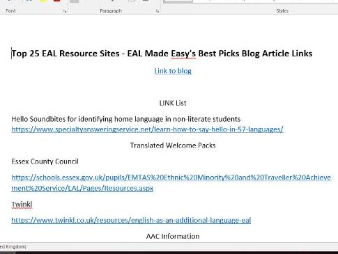 EAL Made Easy's 25 Best Picks for EAL Websites and Resources