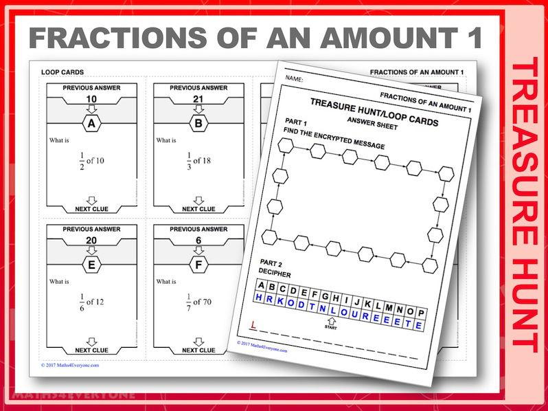 Fractions of an Amount 1 (Treasure Hunt)