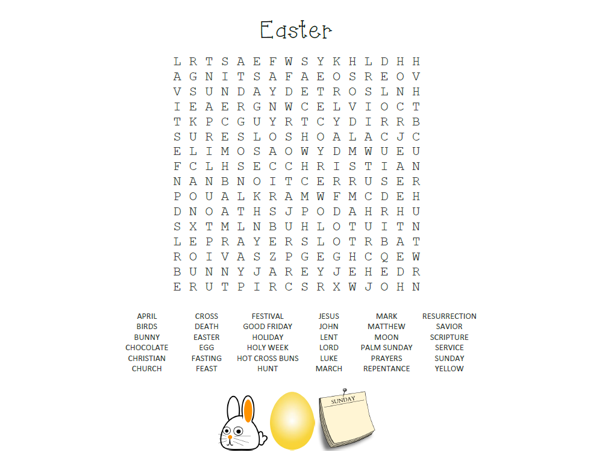 Easter wordsearch! *FREE*