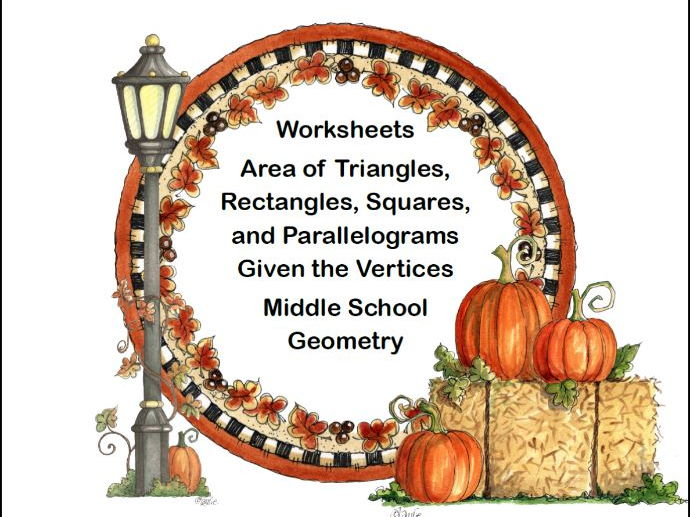 Geometry-Area of a Triangle, Rectangle, Square, and Parallelogram-Worksheets