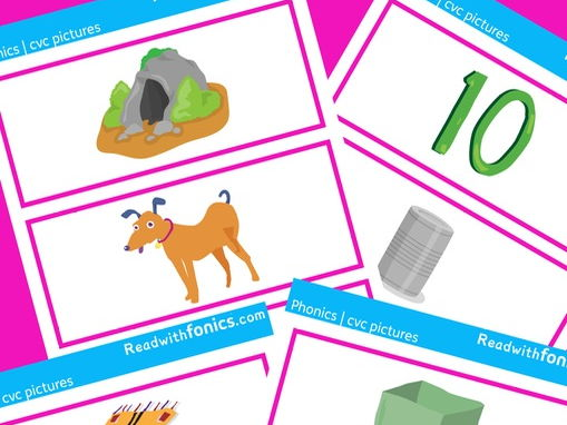 CVC picture flashcards | Phase 2 | Letters and Sounds