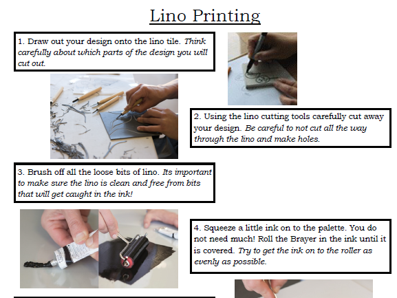 Lino Printing Helpsheet Step by Step KS3 KS4