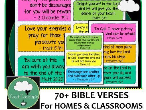 Bible Verses for Home & Classroom Frieze x70+ Colour Encouraging & Motivational