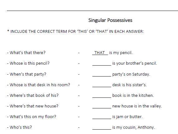 Singular and Plural Possessives- (LESSON 15)