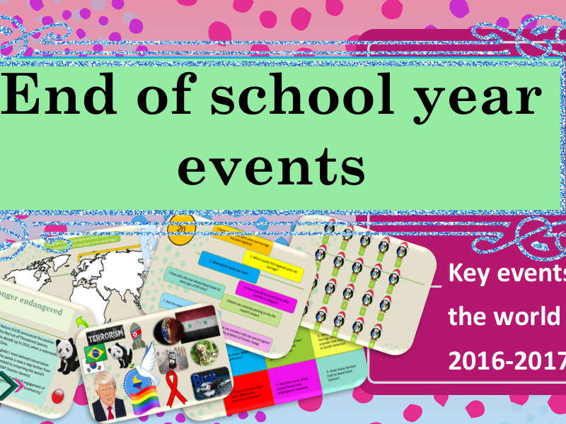 End of school Year - Key Events Recap - What's happen this Year - Lesson + exercices