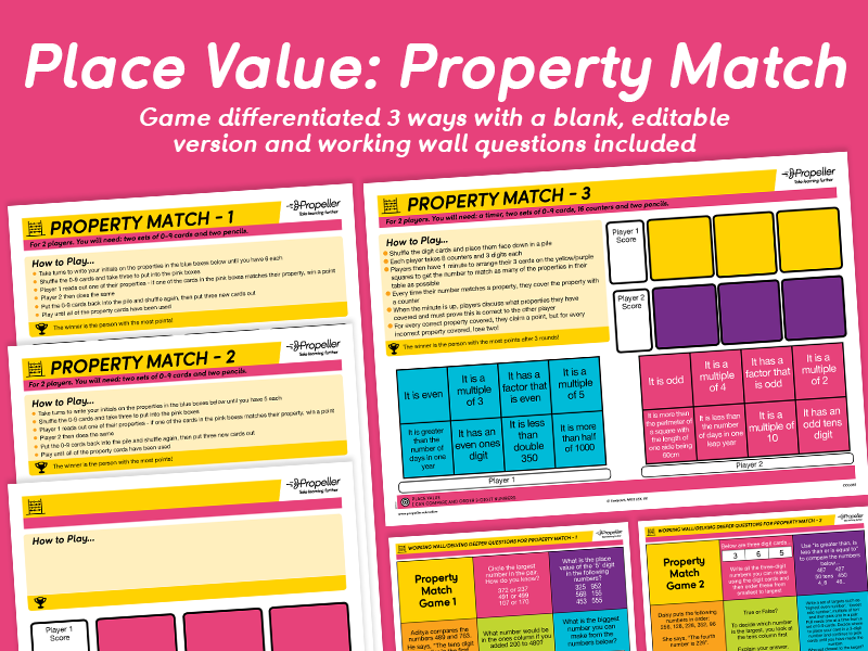Place Value: Property Match Game (Differentiated)