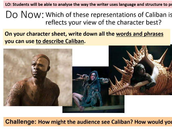 Character of Caliban, Tempest, 3 Lesson Bundle