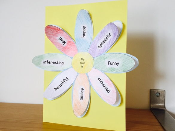 Personalised Mother's Day flower card - adjectives