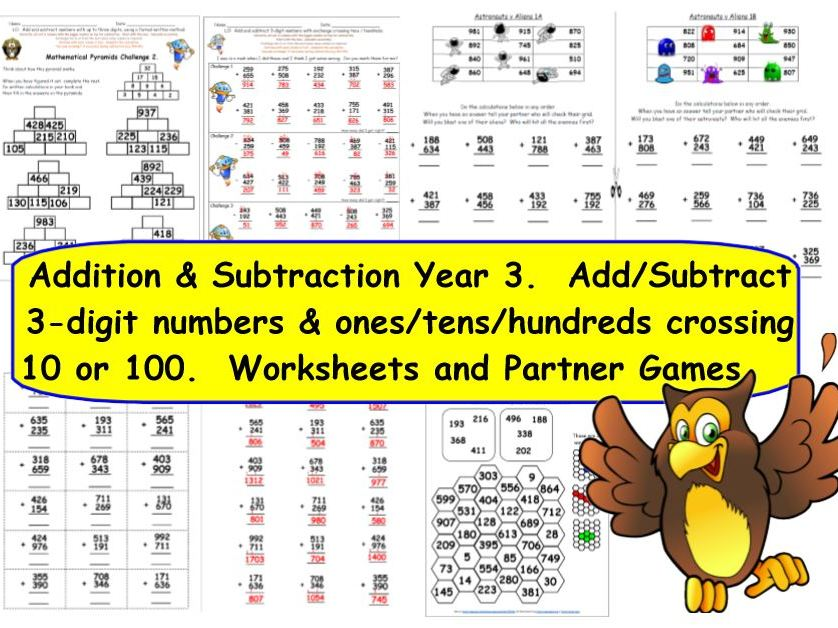 Y3 Add and Subtract 3-digit numbers crossing 10 100 with exchange KS2 Activities & Worksheets.