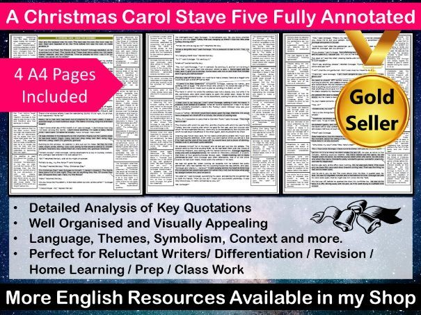 A Christmas Carol Stave Five Fully Annotated