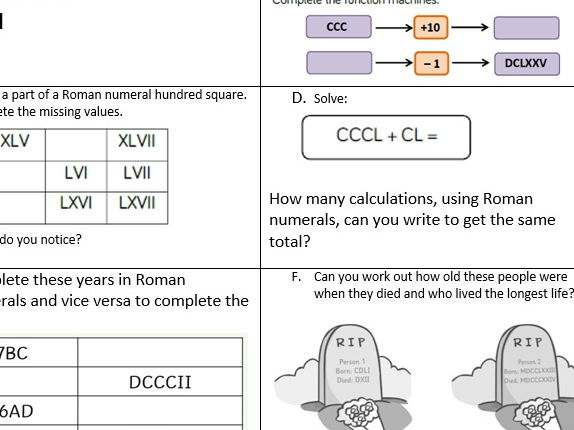 Year 5 place value Roman numerals to 1000 smart board file worksheets following White Rose Mastery