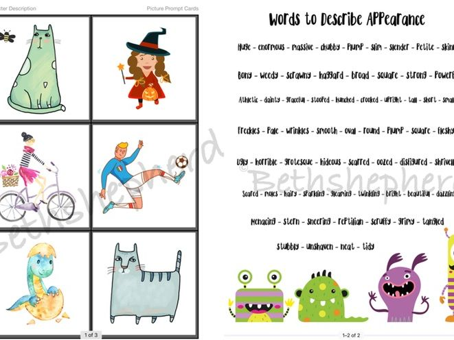 Creative Writing Exercise's - character description, writing worksheet, vocab & picture prompts