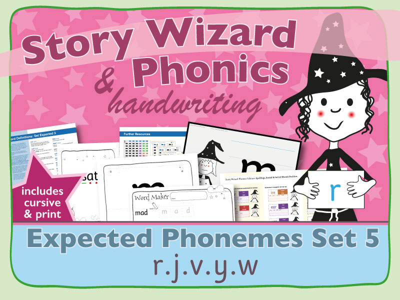 Phonics & Handwriting: Expected Phonemes Set 5: r.j.v.y.w