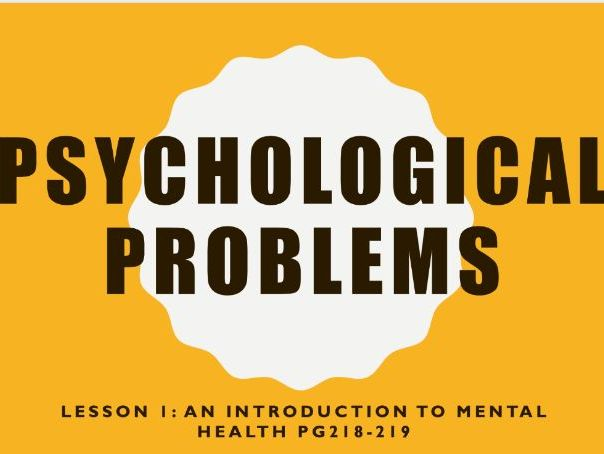AQA GCSE Psychology (New Syllabus) Lesson 1 of 6 -Psychological Problems- Intro to Mental Health