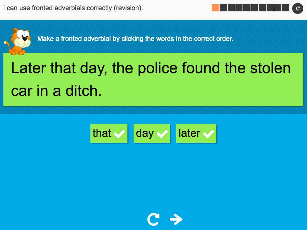 I can use fronted adverbials correctly (revision) - Interactive Activity - Year 6 Spag