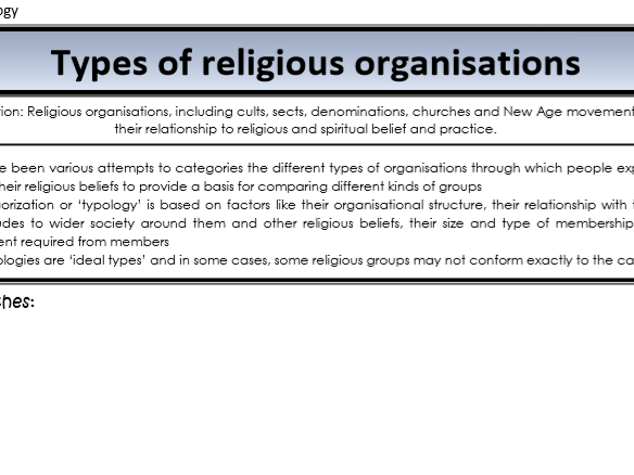 AQA Sociology - Year 2 - Beliefs in society - Religious organisations