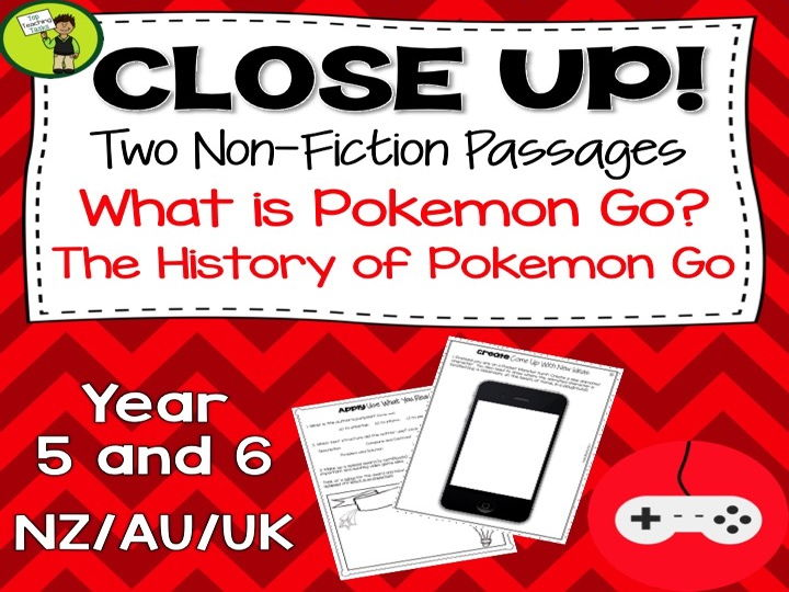 Pokemon Go Non-Fiction Passages with Text Dependent Activities NZ/AU/UK