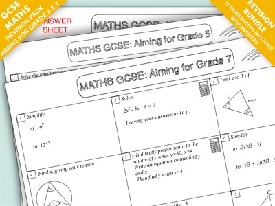 GCSE Maths Revision Pack: Aiming for Grade 5 and Grade 7 Bundle