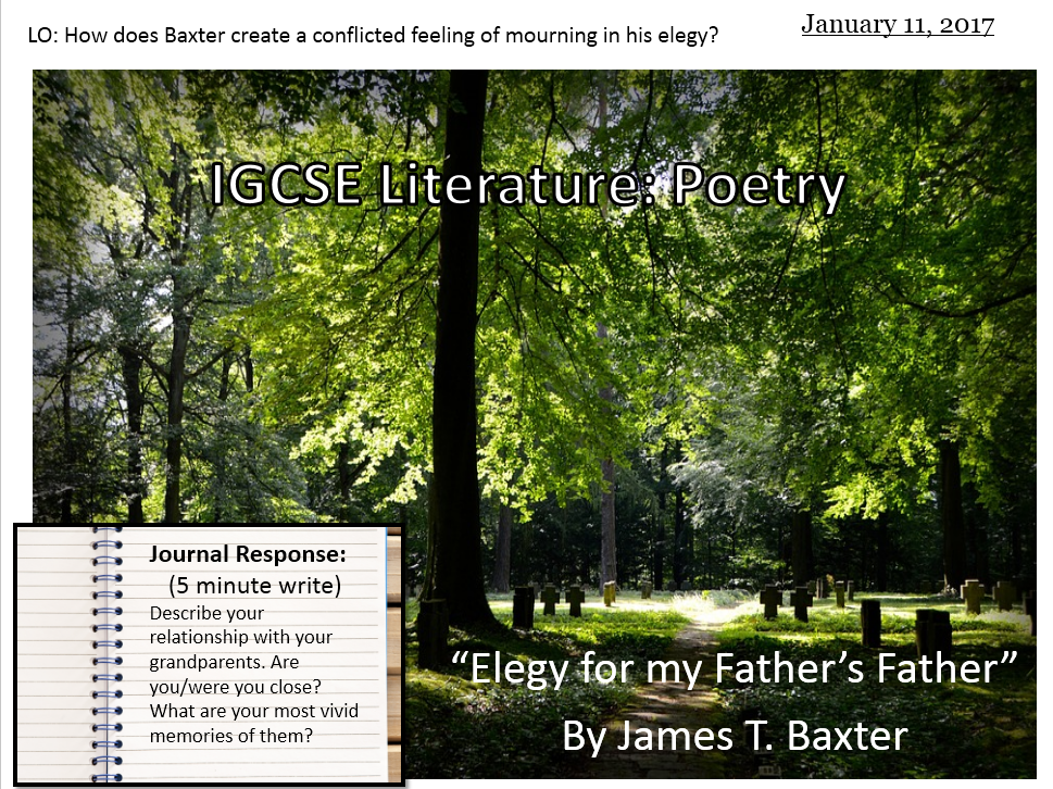 Elegy for my Father's Father by James K. Baxter (IGCSE Literature)