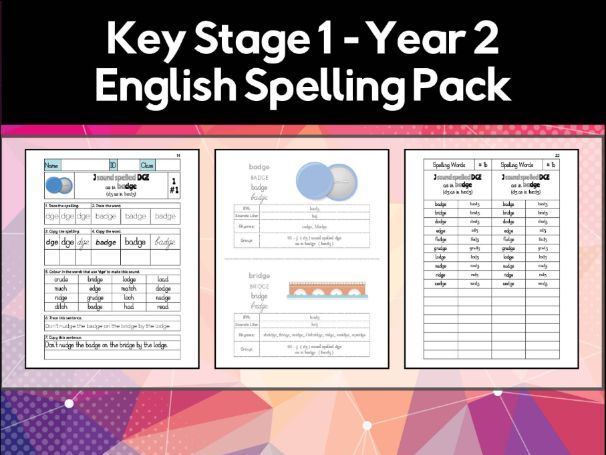 Key Stage 1, Year 2 English Spelling and Phonics Pack (Worksheets & Flashcards)
