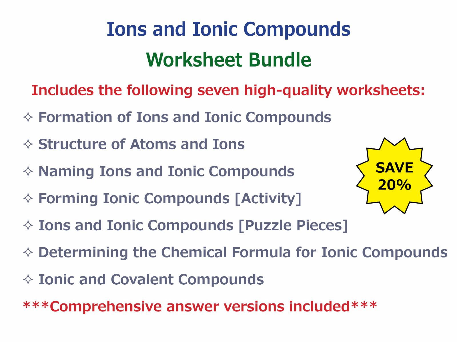 Naming Ions and Ionic Compounds Worksheet by – Covalent Bonds Worksheet