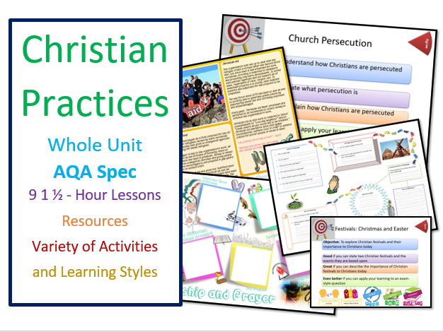 AQA: Study of Christianity: Christian Practices Unit of 9 Lessons
