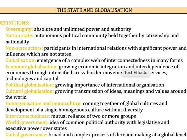 The State and Globalisation - Edexcel Politics A-Level 9PL0