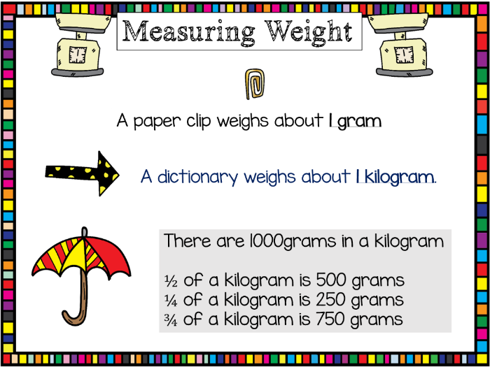 Kilograms and grams key information