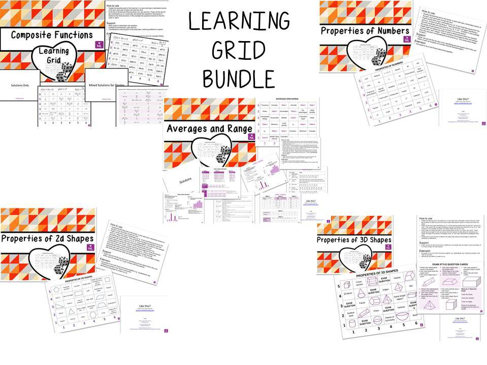 Maths Learning Grid Activity Pack