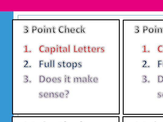 Reminders for basic skills in writing - Three point check