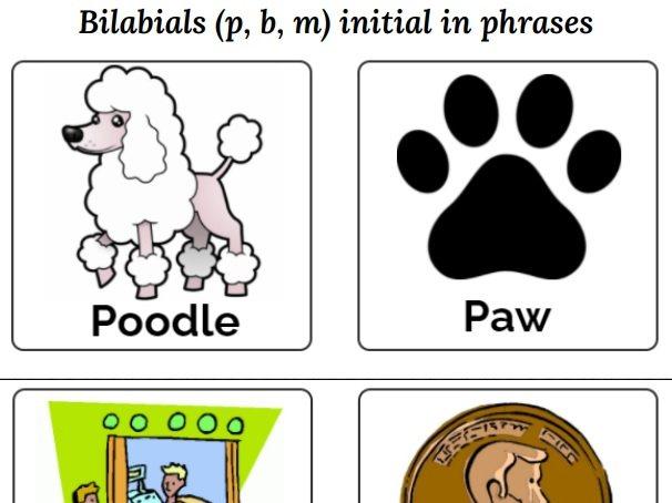Bilabials (p, b, m) initial in phrases