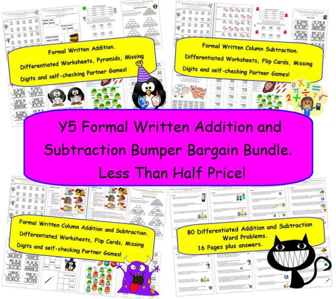 Y5 Formal Written Addition and Subtraction Bumper Bargain Bundle.  Less Than Half Price!