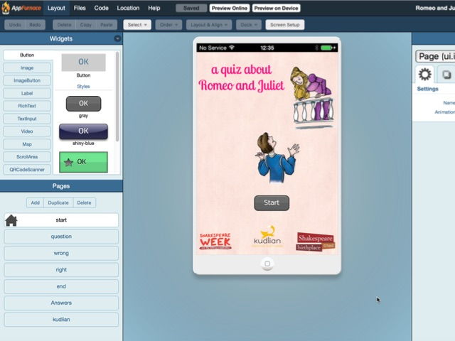 Shakespeare Quiz, Romeo and Juliet - Creating a Multiple Choice Quiz  App with AppFurnace