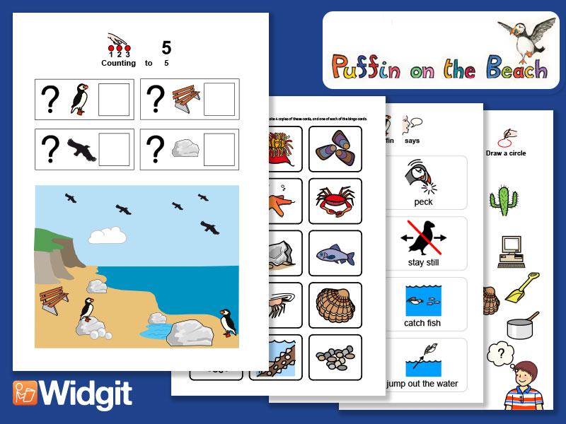 Puffin on the Beach - Games  and Activities with Widgit Symbols