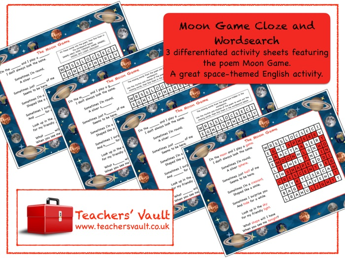 Moon Game Cloze and Wordsearch: