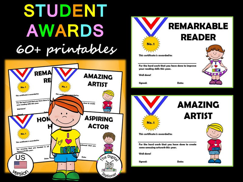 Student Awards/End of Year Awards (US version) – 60 printable Awards