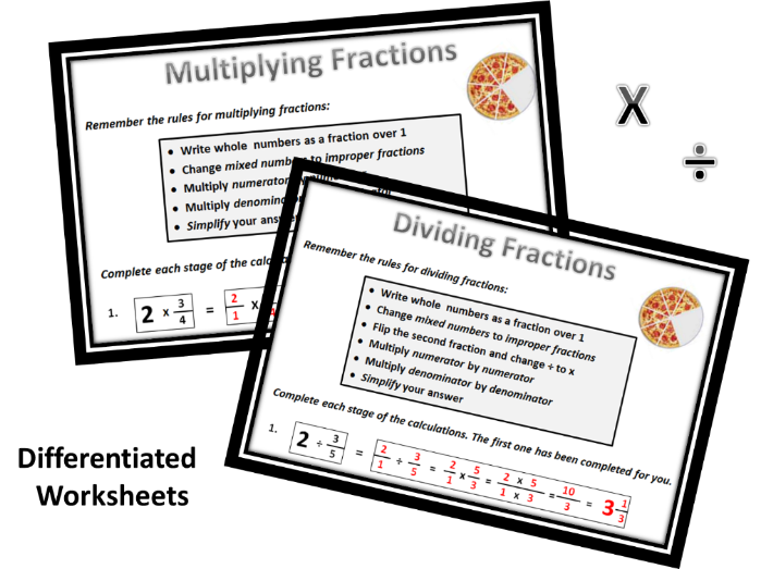 Fractions - Multiplying & Dividing Worksheets