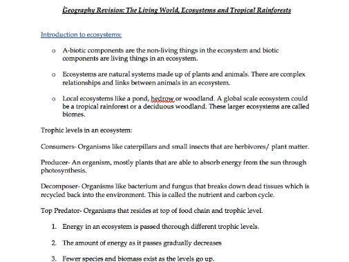 Living World, Ecosystems and Rainforests - Notes Geography AQA Physical GCSE