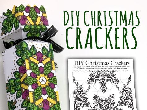 DIY Christmas Crackers - Set of 8 Christmas Cracker templates to print and color - Printable PDF
