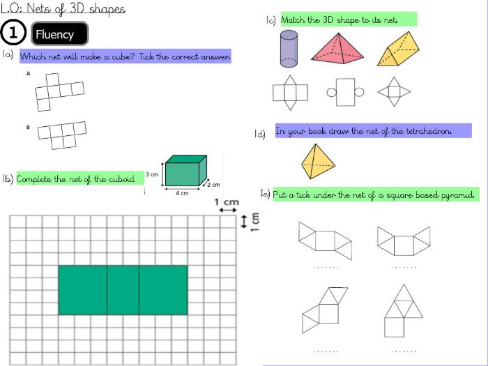 Geometry- Draw nets of 3d shapes - Year 6