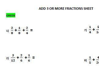 Add 3 or more fractions worksheet