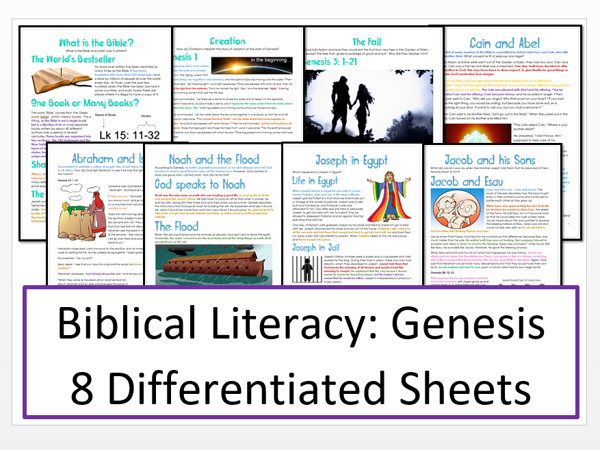 Biblical Literacy Unit: Genesis: Differentiated Information and Activity Bundle
