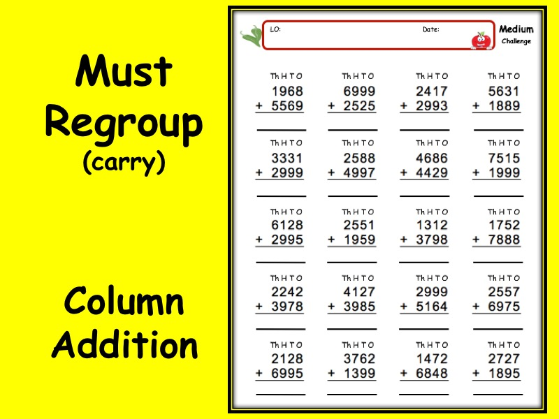 Addition worksheet with answers - 3 levels of differentiation KS2 Year 3 4 5 6 Must regroup - carry