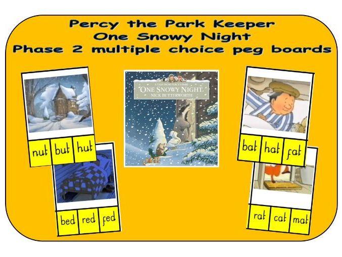 Percy the Park Keeper - One Snowy Night - Phonics multiple choice CVC word peg boards
