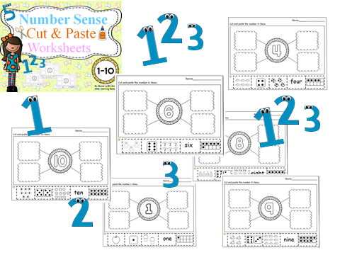 Number Sense(1-10)Cut & Paste Worksheets