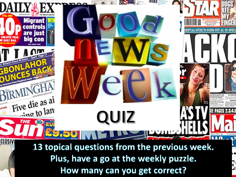 Weekly News Quiz wc 6/1/20 Topical News quiz with Puzzle
